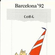 Sellos: BARCELONA 92. COBI. VELA. 1988. 1 SELLO EN HOJA SIN SELLAR. BUEN ESTADO. 13,5X10 CM.. Lote 164943286