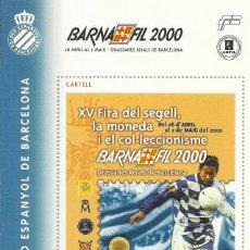 Sellos: CENTENARI RCD ESPANYOL DE BARCELONA. BARNAFIL 2000. HOJA SIN SELLAR. BUEN ESTADO. 12X8,5 CM. . Lote 164943742