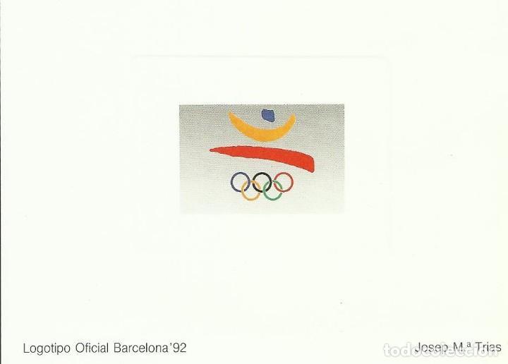 PRUEBA DE ARTISTA. JOSEP MARÍA TRIAS. LOGOTIPO OFICIAL BARCELONA 92. 9X12 CM. BUEN ESTADO. (Sellos - Temáticas - Deportes)