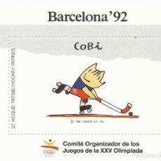 Sellos: 27 HOQUEI PATINS, HOCKEY PATINES. COBI. BARCELONA 92. 1988. 1 SELLO EN HOJA SIN SELLAR. BUEN ESTADO.. Lote 164949054
