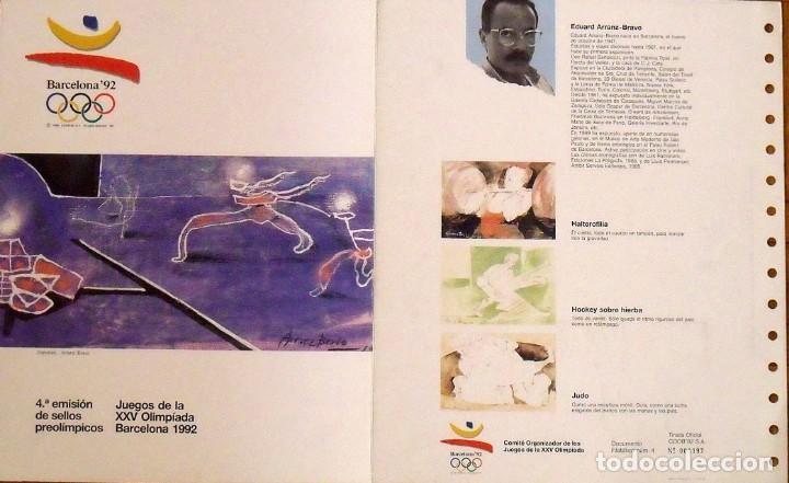 4A EMISIÓN DE SELLOS PREOLÍMPICOS. BARCELONA 1992. HOJA DE ARRANZ-BRAVO. MATASELLOS CONMEMORATIVO. (Sellos - Temáticas - Deportes)