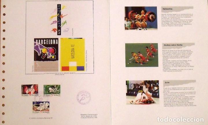 Sellos: 4a emisión de sellos preolímpicos. Barcelona 1992. Hoja de Arranz-Bravo. Matasellos conmemorativo. - Foto 2 - 165076858