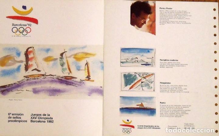 6A EMISIÓN DE SELLOS PREOLÍMPICOS. BARCELONA 1992. HOJA DE PERICO PASTOR MATASELLOS CONMEMORATIVO. (Sellos - Temáticas - Deportes)