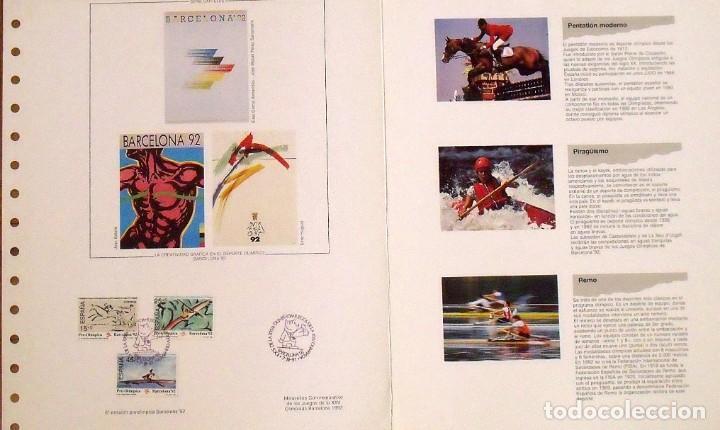 Sellos: 6a emisión de sellos preolímpicos. Barcelona 1992. Hoja de Perico Pastor Matasellos conmemorativo. - Foto 2 - 165077006