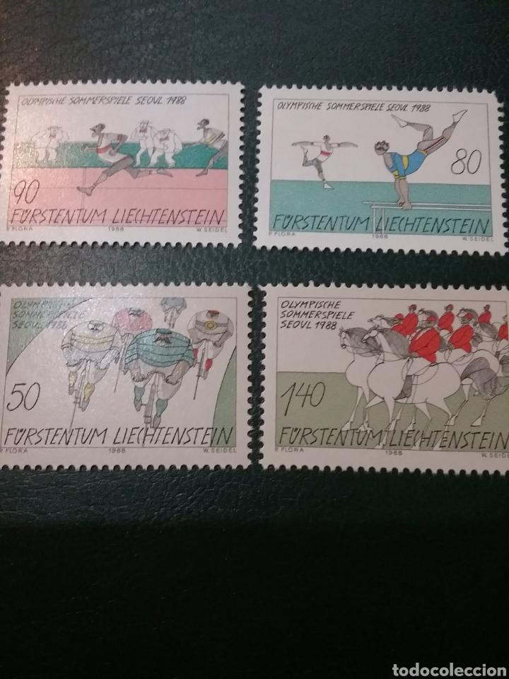 SELLOS P. LIECHTENSTEIN NUEVOS/1988/JUEGOS OLIMPIADAS SEUL/COREA SUR/CABALLO/GIMNASTAS/CICLISMO/EQUI (Sellos - Temáticas - Deportes)