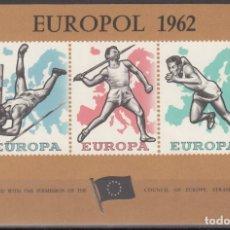 Sellos: BEGICA, 1962 HOJA BLOQUE EUROPOL,DEPORTES, ATLETISMO.. Lote 172345855