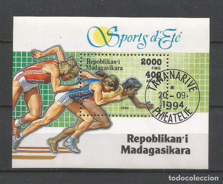 SELLOS MADAGASCAR AÑO 1994. DEPORTES, ATLETISMO. HOJA BLOQUE USADA (Sellos - Temáticas - Deportes)