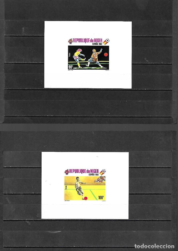 MUNDIAL ESPAÑA 1982 SERIE DE HOJAS BLOQUE SIN DENTAR DE NIGER NUEVA PERFECTA EN CARTON (Sellos - Temáticas - Deportes)