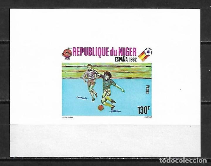 MUNDIAL ESPAÑA 1982 HOJA BLOQUE SIN DENTAR DE NIGER NUEVA PERFECTA (Sellos - Temáticas - Deportes)