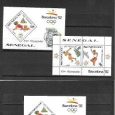 Sellos: SERIE DE SENEGAL 2 HOJAS BLOQUE DENTADAS Y UNA DENTADA DE OLIMPIADAS DE BARCELONA 92 NUEVA PERFECTA. Lote 173244145
