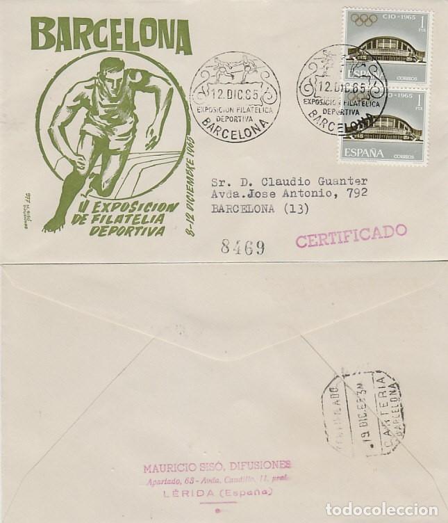 AÑO 1965, CARRERA DE RELEVOS, EXPOSICION DEPORTIVA EN BARCELONA, SOBRE DE SISO CIRCULADO (Sellos - Temáticas - Deportes)