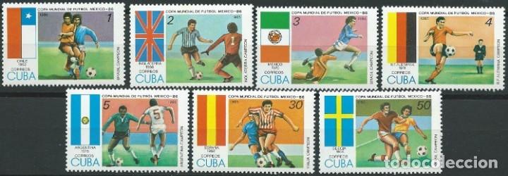 1985. CUBA. YVERT 2595/2601** MNH. COPA DEL MUNDO DE FÚTBOL MÉXICO'86. FOOTBALL WORLD CUP. (Sellos - Temáticas - Deportes)