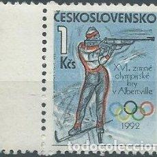 Sellos: 1992. CHECOSLOVAQUIA/CZECHOSLOVAKIA. YVERT 2909** MNH. JUEGOS OLÍMPICOS ALBERTVILLE. OLYMPIC GAMES.. Lote 176158147