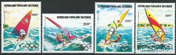 1983. REP. POPULAR CONGO. YVERT A.304/7** MNH. AÑO PREOLÍMPICO. PRE-OLYMPIC YEAR. WINDSURFING. (Sellos - Temáticas - Deportes)