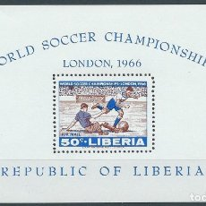 Sellos: 1966. LIBERIA. HOJITA-S/S YVERT 37**MNH. CAMPEONATO MUNDIAL FÚTBOL INGLATERRA'66. FOOTBALL WORLD CUP. Lote 176310828