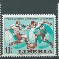 Sellos: 1966. LIBERIA. YVERT 412/4**MNH. CAMPEONATO MUNDIAL FÚTBOL INGLATERRA'66. FOOTBALL WORLD CUP. Lote 176310849
