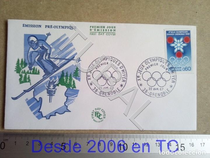 TUBAL FRANCIA 1967 SOBRE PRIMER DIA GRENOBLE OLIMPIADA INVIERNO ENVIO 70 CENT 2019 T1 (Sellos - Temáticas - Deportes)