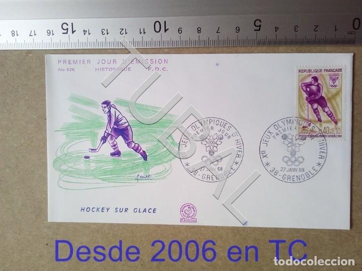TUBAL FRANCIA 1968 SOBRE PRIMER DIA 626 GRENOBLE HOCKEY OLIMPIADA INVIERNO ENVIO 70 CENT 2019 T1 (Sellos - Temáticas - Deportes)