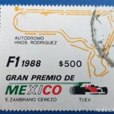 Sellos: AUTOMOVILISMO. SELLO DE MEXICO. AÑO 1988. GRAN PREMIO DE MEXICO DE F-1. Lote 180502516