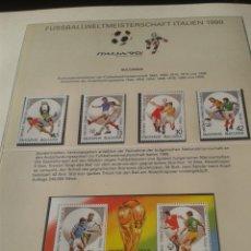 Sellos: BULGARIA 1990 HOJA BLOQUE + SELLOS CONMEMORATIVOS DE LA COPA MUNDIAL DE FUTBOL ITALIA 90- FIFA. Lote 181528101