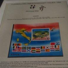 Sellos: RUMANIA 1990 HOJA BLOQUE DE SELLOS CONMEMORATIVOS DE LA COPA MUNDIAL DE FUTBOL ITALIA 90- FIFA. Lote 181528588