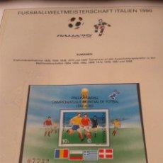 Sellos: RUMANIA 1990 HOJA BLOQUE SELLOS CONMEMORATIVOS DE LA COPA MUNDIAL DE FUTBOL ITALIA 90- FIFA. Lote 181528677