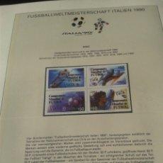 Sellos: BULGARIA 1990 HOJA BLOQUE DE SELLOS CONMEMORATIVOS DE LA COPA MUNDIAL DE FUTBOL ITALIA 90- FIFA. Lote 181607056
