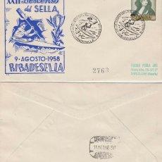Sellos: AÑO 1958, DESCENSO INTERNACIONAL DEL SELLA, RIBADESELLA (ASTURIAS), SOBRE DE PANFILATELICA CIRCULADO. Lote 182292683