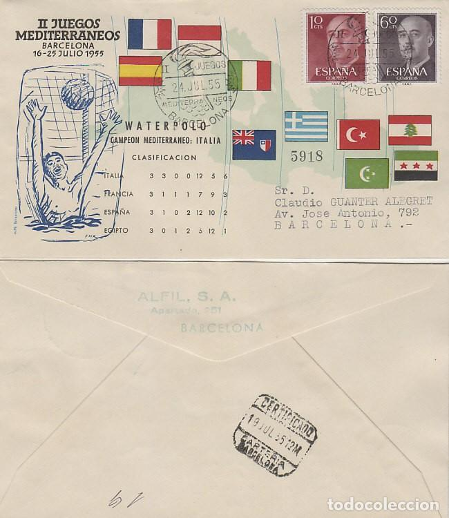 AÑO 1955, WATERPOLO, II JUEGOS MEDITERRANEOS, BARCELONA, CON LA CLASIFICACION, ALFIL CIRCULADO (Sellos - Temáticas - Deportes)