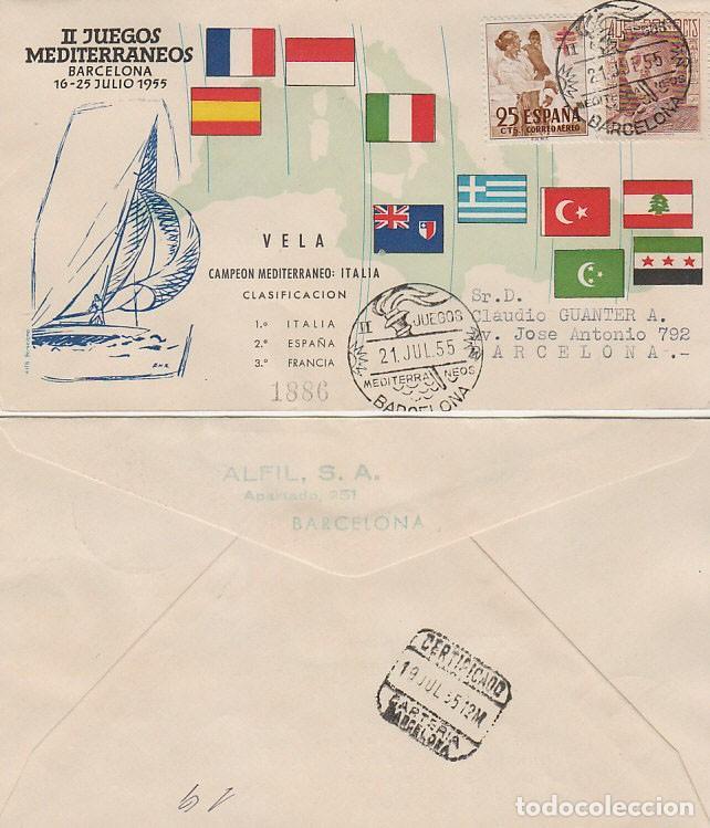 AÑO 1955, VELA, II JUEGOS MEDITERRANEOS, BARCELONA, CON LA CLASIFICACION, ALFIL CIRCULADO (Sellos - Temáticas - Deportes)