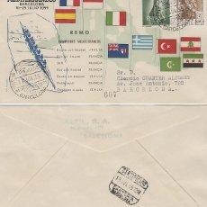 Sellos: AÑO 1955, REMO, II JUEGOS MEDITERRANEOS, BARCELONA, CON LA CLASIFICACION, ALFIL CIRCULADO. Lote 183404791