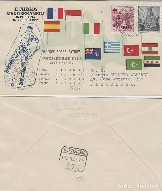 AÑO 1955, HOCKEY PATINES, II JUEGOS MEDITERRANEOS, BARCELONA, CON LA CLASIFICACION, ALFIL CIRCULADO (Sellos - Temáticas - Deportes)