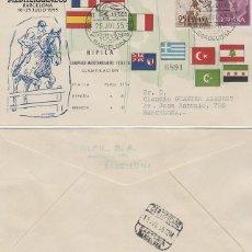 Sellos: AÑO 1955, HIPICA, II JUEGOS MEDITERRANEOS, BARCELONA, CON LA CLASIFICACION, ALFIL CIRCULADO. Lote 183405141