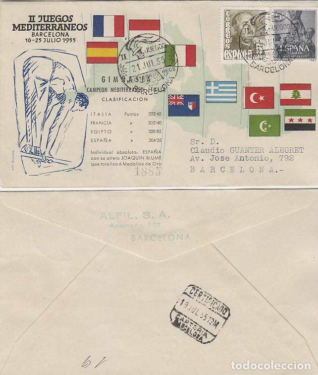 AÑO 1955, GIMNASIA, II JUEGOS MEDITERRANEOS, BARCELONA, CON LA CLASIFICACION, ALFIL CIRCULADO (Sellos - Temáticas - Deportes)