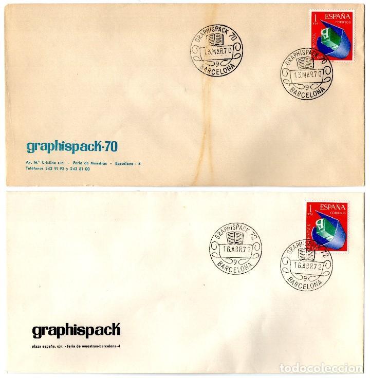 5 SOBRES GRAPHISPACK CON MATASELLOS CONMEMORATIVOS AÑOS 1970-72-74-78 Y 81 (Sellos - Temáticas - Deportes)