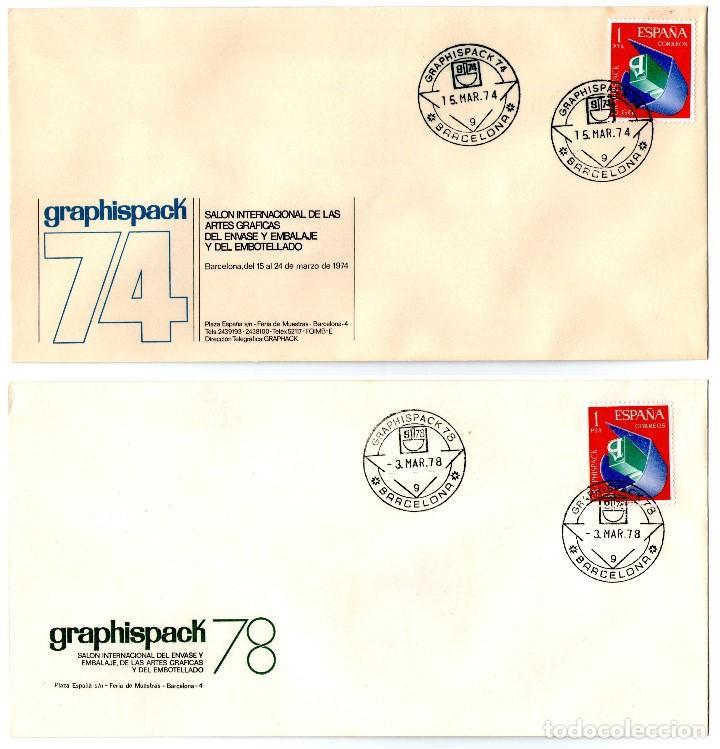 Sellos: 5 SOBRES GRAPHISPACK CON MATASELLOS CONMEMORATIVOS AÑOS 1970-72-74-78 Y 81 - Foto 2 - 183913036