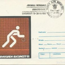 Sellos: 1981. RUMANÍA/ROMANIA. ENTERO POSTAL/STATIONERY. MATASELLOS UNIVERSIADA'81. BALONCESTO/BASKETBALL.. Lote 184098120