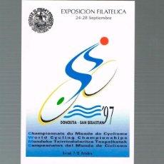 Sellos: TARJETA DEL CORREO 60-1, CAMPEONATO DEL MUNDO DE CICLISMO 1997 EN SAN SEBASTIAN MATASELLO EXPOSICION. Lote 190277073