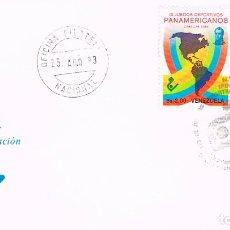 Sellos: VENEZUELA Nº 2272, JUEGOS DEPORTIVOS PANAMERICANOS, CICLISMO Y ATLETISMO, PRIMER DIA 2-8-1983. Lote 191064958
