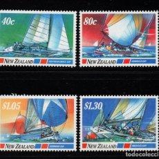 Sellos: NUEVA ZELANDA 950/53** - AÑO 1987 - DEPORTES NAUTICOS - CAMPEONATO DEL MUNDO DE VELA. Lote 191187541