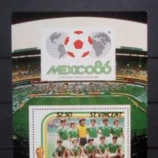 Sellos: MUNDIAL DE FÚTBOL MEJICO 1986 SELECCIÓN MEJICANA HOJA BLOQUE DE SELLOS NUEVOS DE ST. VICENTE. Lote 191204808