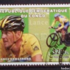 Francobolli: CICLISMO LANCE ARMSTRONG SELLO USADO DE REPÚBLICA DEL CONGO. Lote 192821916