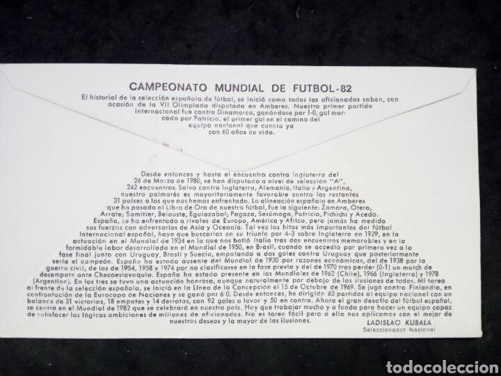 Sellos: ANTIGUO SOBRE CON SELLOS MUNDIAL 82. 1°DIA DE CIRCULACION. ELCHE - Foto 2 - 194235006