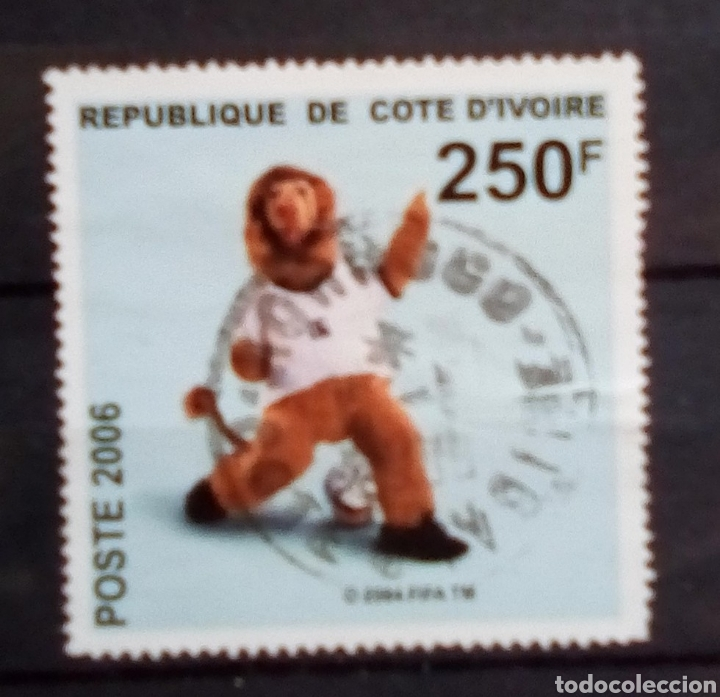COSTA DE MARFIL MÁS MUNDIAL DE FÚTBOL ALEMANIA 2006 SELLO USADO (Sellos - Temáticas - Deportes)