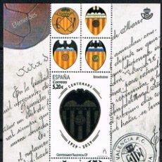 Sellos: AÑO 2019, CENTENARIO DEL VALENCIA CLUB DE FUTBOL, HOJA BLOQUE NUEVA ***. Lote 194324361