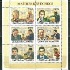 Sellos: COMORES 2009 IVERT 1369/74 *** MAESTROS DEL AJEDREZ - DEPORTES. Lote 195127172