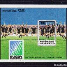Sellos: NUEVA ZELANDA HB 79** - AÑO 1991 - CAMPEONATO DEL MUNDO DE RUGBY. Lote 195495058