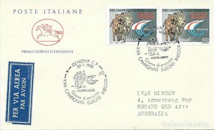1992. ITALIA/ITALY. SPD/FDC. YT 1932 (2 EJEMPLARES) CAMPEONATO EUROPA ATLETISMO. ATHLETICS. (Sellos - Temáticas - Deportes)