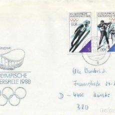 Sellos: 1988. ALEMANIA DEL ESTE/EAST GERMANY. SOBRE CIRCULADO SELLOS JUEGOS OLÍMPICOS INVIERNO CALGARY'88. . Lote 200859178