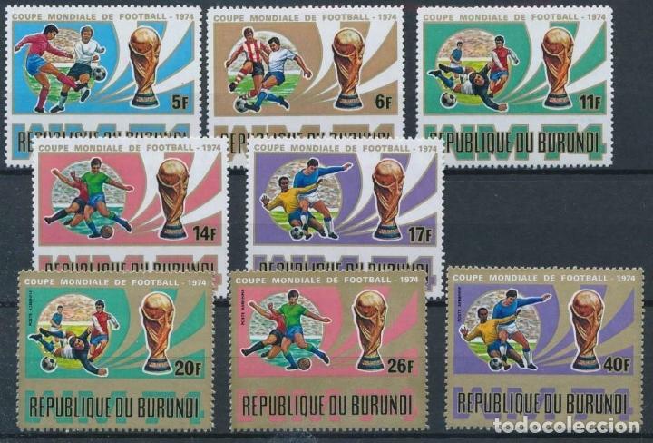 BURUNDI 1974 IVERT 612/16 Y AEREO 319/21 *** CAMPEONATO DEL MUNDO DE FUTBOL - DEPORTES (Sellos - Temáticas - Deportes)